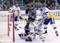 Press Eye - Belfast -  Northern Ireland - 09th February 2018 - Photo by William Cherry/Presseye. Belfast Giants Brendan Connolly with Fife Flyers Andy Iles during Friday nights Elite Ice Hockey League game at the SSE Arena, Belfast.
