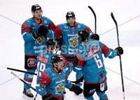 Press Eye - Belfast -  Northern Ireland - 13th January 2018 - Photo by William Cherry/Presseye. Belfast Giants Spiro Goulakos celebrates scoring against Nottingham Panthers during Saturday nights Elite Ice Hockey League game at the SSE Arena, Belfast.