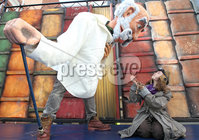 @Press Eye Ltd Northern Ireland -3rd May    2012. Mandatory Credit - Brian Little/ Presseye.com. Professor Dashwood\' (Michael McNulty) and \'Chip\' , Ella Lyttle (11) during rehersals for Journey to the Land of Giants which is the opening show of the Festival of Fools, at Saint Anne\'s Square.. . . . . . . . . . . . . . . . . . . . . . . . . . . . . . . . . . . . . . . . .  . . . . . . . . . . . . .