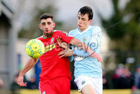 Danske Bank Premiership, Milltown Playing Fields, Newry 2/12/2017 . Warrenpoint Town vs Cliftonville. Warrenpoint\'s Danny Wallace and Cliftonville\'s Joe Gormley. Mandatory Credit ©INPHO/Philip Magowan