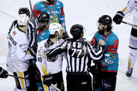 Press Eye - Belfast -  Northern Ireland - 13th January 2018 - Photo by William Cherry/Presseye. Belfast Giants Ryan Martinelli with Nottingham Panthers Raphael Bussieres during Saturday nights Elite Ice Hockey League game at the SSE Arena, Belfast.