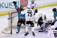 Press Eye - Belfast -  Northern Ireland - 13th January 2018 - Photo by William Cherry/Presseye. Belfast Giants David Rutherford with Nottingham Panthers Mathieu Gagnon during Saturday nights Elite Ice Hockey League game at the SSE Arena, Belfast.