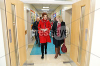 Press Eye - Belfast - Northern Ireland - 4th March 2018 -  . Secretary of State for Northern Ireland Karen Bradley MP began a day of engagements in Londonderry on Monday 5 March 2018 with a visit to Thornhill College where she toured the school, met staff and pupils, and heard about the impact of the current political situation on the education sector.. The Secretary of State is greeted by Principal Sharon Mallett.. Photo by Kelvin Boyes / Press Eye..