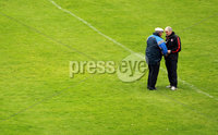 All Ireland Senior Football Championship Qualifier Round 2, Dr. Hyde Park, Roscommon 14/7/2012. Roscommon vs Tyrone. Tyrone manager Mickey Harte speaks to a Roscommon supporter after the game. Mandatory Credit ©INPHO/Donall Farmer