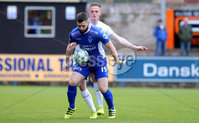 Danske Bank Premiership, Showgrounds, Ballymena 7/10/2017 . Dungannon vs Ballymena United. Dungannon\'s Cormac Burke and Ballymena\'s Andrew Burns. Mandatory Credit ©INPHO/Philip Magowan