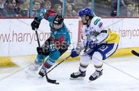 Press Eye - Belfast -  Northern Ireland - 09th February 2018 - Photo by William Cherry/Presseye. Belfast Giants Steve Saviano with Fife Flyers Evan Bloodoff  during Friday nights Elite Ice Hockey League game at the SSE Arena, Belfast.