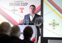 Press Eye Northern Ireland . Thursday 6th December 2018. Picture by Jonathan Porter  / Press Eye . . 5th Round Draw of the Tennent\'s Irish Cup that took place today in Pat Jennings Lounge, National Football Stadium at Windsor Park.. Pictured Peter Snodden Cool FM