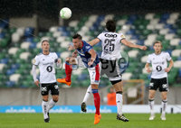 Press Eye - Belfast -  Northern Ireland - 10th July 2019 - Photo by William Cherry/Presseye/Inpho. Linfield\'s Andy Waterworth with Rosenborg\'s Marius Lundemo during Wednesday nights Champions League, Qualifying First Round, 1st Leg game at the National Stadium at Windsor Park, Belfast.