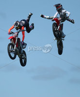 PressEye-Northern Ireland- 16th May 2018-Picture by Brian Little/ PressEye. Stunt Moto cross riders put off freestyle tricks  during the  First day of the 2018 Balmoral Show, in partnership with Ulster Bank, at Balmoral Park. Picture by Brian Little/PressEye