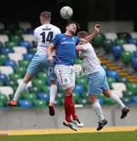 Danske Bank Premiership Play-off , Windsor Park, Belfast  7/4/2018. Linfield FC vs Ballymena United. Linfield\'s     Andrew Waterworth  challenged by  Stephen McAlorum      and Andrew Burns     of Ballymena United.. Mandatory Credit @INPHO/Brian Little