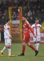 Danske Bank Premiership, Solitude Belfast, Co Antrim 10/03/2018. Cliftonville  vs Crusaders . Cliftonville\'s Joe Gormleys celebrates after hsi  penalty  flys past  Crusaders Brian Jensen to give the reds a 3-0 lead. Mandatory Credit ©INPHO/Stephen Hamilton.