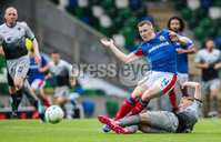 Danske Bank Premiership, Windsor Park, Belfast 10/8/2019. Linfield vs Institute. Linfield\'s Shayne Lavery with Institute\'s Evan Tweed. Mandatory Credit INPHO/John McVitty