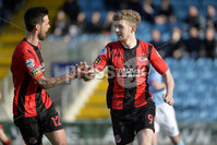 12th October 2019. Danske Bank Irish premiership. Ballymena v Crusaders at Warden Street.. Crusaders Jamie McGonigle celebrates after he slots home his penalty to put the Crues 1-0 up. Mandatory Credit -Inpho/Stephen Hamilton.