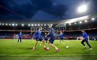 Press Eye - Belfast, Northern Ireland - 09th October 2019 - Photo by William Cherry/Presseye. Northern Ireland\'s Tom Flanagan, George Saville and Corry Evans during Wednesday nights training session at Stadium Feijenoord ahead of Thursday nights UEFA Euro 2020 Qualifier against Netherlands in Rotterdam. Photo by William Cherry/Presseye