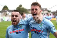 Danske Bank Premiership, The Showgrounds, Ballymena, 14/09/2019. Ballymena United vs Coleraine. Mandatory Credit INPHO/Declan Roughan. Ballymena United\'s Scott Whiteside (right) scores against Coleraine and celebrates with Cathair Friel