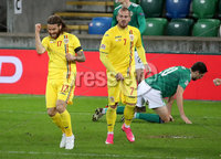 Press Eye - Belfast, Northern Ireland - 18th November 2020 - Photo by William Cherry/Presseye. Romania\'s Eric Bicfalvi celebrates scoring against Northern Ireland during Wednesday nights UEFA Nations League game at the National Football Stadium at Windsor Park, Belfast. Photo by William Cherry/Presseye