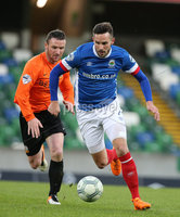 PressEye-Northern Ireland- 18th April 2017-Picture by Brian Little/PressEye. Linfield Andrew Waterworth     and Glenavon Andy Kilmartin  during Easter Tuesday\'s Danske Bank Section A match at Windsor Park.. Picture by Brian Little/PressEye