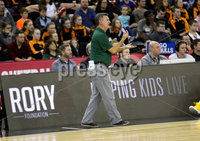 Press Eye - Belfast -  Northern Ireland - 01st December 2018 - Photo by William Cherry/Presseye. San Francisco head coach Kyle Smith during Saturday evenings Goliath Championship game of the Basketball Hall of Fame Belfast Classic at the SSE Arena, Belfast.