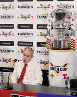 Press Eye - Belfast -  Northern Ireland - 27th April 2018 - Photo by William Cherry/Presseye. Cliftonville assistant manager Harry Fay pictured during Wednesday nights Tennents Irish Cup Press Conference at the National Stadium, Belfast.