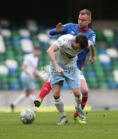 Danske Bank Premiership Play-off , Windsor Park, Belfast  7/4/2018. Linfield FC vs Ballymena United. Linfield\'s Andrew Mitchell  and  Conor McCloskey   of Ballymena United.. Mandatory Credit @INPHO/Brian Little