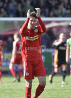12th May 2018. Europa league play off final between Cliftonville and Glentoran at Solitude in Belfast.. Cliftonville\'s Tomas Cosgrove  celebrates after winning a place in the Europa league. Mandatory Credit: Inpho/Stephen Hamilton