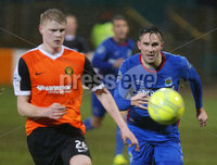 Dance Bank Premiership, Taylors Avenue, Carrickfergus.  09.01.2018. Carrick Rangers Vs Linfield FC. Carrick\'s Danny Magill with Linfield\'s Andrew Waterworth. Mandatory Credit©INPHO/PressEye.com/Jonathan Porter.
