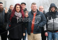 Press Eye - Belfast - Northern Ireland - 10th January 2018. Britain First leader Paul Golding(centre) arrives at Belfast Magistrates Court, along with the deputy leader Jayda Fransen(left), where he was appearing after being charged with making a hate speech at Belfast City Hall last summer.  See copy by Alan Erwin/Laganside  Media. . Picture by Jonathan Porter/PressEye