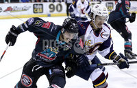 Press Eye - Belfast, Northern Ireland - 04th October 2019 - Photo by William Cherry/Presseye. Belfast Giants\' Ben Lake with Guildford Flames\' TJ Foster during Friday nights EIHL game at the SSE Arena, Belfast.   Photo by William Cherry/Presseye
