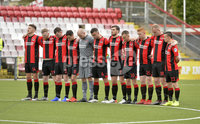 10th August 2019. Danske Bank Premiership.  Crusaders v Carrick Rangers at Seaview Belfast.. Crusaders players observe a minutes silence for Tommy Breslin. Mandatory Credit : Stephen Hamilton/Inpho