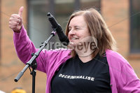 Press Eye - Belfast - Northern Ireland - 7th September 2019 - . Rally for Choice in Belfast City Centre.. Photo by Declan Roughan / Press Eye.. Speaker Bernadette McAliskey pictured at Writers Square, Belfast  .
