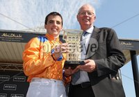 Curragh Racing, The Curragh, Co. Kildare 27/5/2012. The Etihad Airways Irish 1000 Guineas. Winning jockey Martin Harley and Trainer Mick Channon celebrate . Mandatory Credit ©INPHO/Lorraine O\'Sullivan