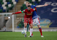 Press Eye - Belfast, Northern Ireland - 29th October 2019 - Photo by William Cherry/Presseye. Linfield\'s Ryan McGivern with Cliftonville\'s Joe Gormley during Tuesday nights BetMcLean League Cup game at Windsor Park, Belfast.     Photo by William Cherry/Presseye