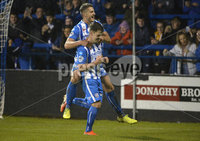 Bet Mclean league cup 3rd round . 8th October 2019. Coleraine  v Glentoran ay Ballycastle road, Coleraine. Coleraines Ben Doherty celebrates after netting from the spot. Mandatory Credit INPHO/Stephen Hamilton.