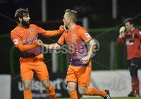 . Danske Bank Premiership,The Oval Belfast 14/11/2017. Glentoran v Glenavon. Mandatory Credit ©INPHO/Stephen Hamilton.  Glenavons Sammy Clinghan celebrates after his converted penalty puts his side into a 2-1 lead