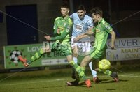 Danske Bank Premiership, Milltown Playing Fields, Newry 13/2/2018. Warrenpoint Town vs Cliftonville. Mandatory Credit ©INPHO/Stephen Hamilton. Warrenpoints Sean Mackle in action with Cliftonvilles  Jay Donnelly and Conor McDonald