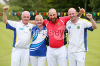 Press Eye Belfast - Northern Ireland 14th July 2017. Bangor Open Bowls Competition at Bangor Bowling Club. . Left tor right. Robert Hastings, his wife Elaine, Johnny McKeown and Thomas McClean who won the Fours competition. . Picture by Jonathan Porter/PressEye.com.
