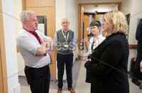 Press Eye - Belfast - Northern Ireland - 5th March 2018 -  . Visiting Londonderry on Monday 5 March 2018, Secretary of State for Northern Ireland Karen Bradley MP toured Altnagelvin Area Hospital\'s A&E unit and visited the hospital's Cardiology and Orthopaedic Wards to meet clinical leads and patients and hear first-hand about the care the hospital provides as well as the challenges faced by the health sector.. She is pictured with staff from the  Cardiology Ward during her visit to the hospital.. Photo by Kelvin Boyes / Press Eye..
