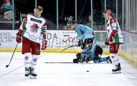 Press Eye - Belfast, Northern Ireland - 01st February 2020 - Photo by William Cherry/Presseye. Belfast Giants\' David Goodwin is down injured during Sunday afternoons Elite Ice Hockey League game against Cardiff Devils at the SSE Arena, Belfast.   Photo by William Cherry/Presseye
