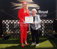 Press Eye - Belfast - Northern Ireland - 22nd June 2019 - . Summer Festival Of Racing Day 2 at Down Royal Racecourse.. Photo by Freddie Parkinson / Press Eye.. Race 2 - 2:15 GET YOUR FREE TRIAL NOW AT RACINGTV.COM HANDICAP . Winner: Tide of Time with Oisin Orr. Emma Meehan CEO of Down Royal presents the prize on behalf of Racing TV to Betty Tiplin