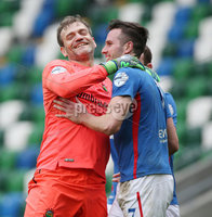 Danske Bank Premiership Play-off , Windsor Park, Belfast  7/4/2018. Linfield FC vs Ballymena United. Linfield\'s goal keeper  Roy Carroll celebrate with Andrew Waterworth against  Ballymena United.. Mandatory Credit @INPHO/Brian Little