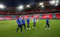 Press Eye - Belfast, Northern Ireland - 13th October 2020 - Photo by William Cherry/Presseye. Northern Ireland\'s players during Tuesday nights walk around the Ullevaal Stadium pitch at ahead of Wednesdays UEFA Nations League game against Norway in Oslo. Photo by William Cherry/Presseye