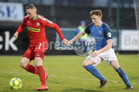 Danske Bank Premiership, Mourneview Park, Lurgan, Co. Armagh 13/1/2018. Glenavon vs Cliftonville. Glenavon\'s Caolan Marron with Jude Winchester of Cliftonville. Mandatory Credit ©INPHO/Declan Roughan