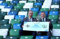 Press Eye - Belfast -  Northern Ireland - 01st November 2018 - Photo by William Cherry/Presseye. IFA AND FAI ANNOUNCE JOINT BID FOR 2023 UEFA UNDER-21 CHAMPIONSHIP. The Irish Football Association and the Football Association of Ireland have today announced their intention to submit a joint bid to host the UEFA Under-21 Championship in 2023.. The UEFA Under-21 Championship is the second biggest football tournament in Europe after the UEFA Euros. The best young talent from across the continent play in the tournament with players such as Luis Figo, Petr Cech, Iker Casillas and Andrea Pirlo all having featured in the competition before becoming senior internationals. Pictured at the launch are Patrick Nelson Irish FA Chief Executive and John Delaney FAI Chief Executive.