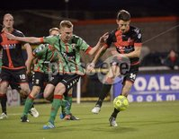 Danske Bank Premiership, Seaview Belfast.. Co Antrim 02/12/17. Crusaders v Glentoran. Mandatory Credit ©INPHO/Stephen Hamilton. Crusaders Jordan Forsythe  in action with Glentorans Calum Birney.