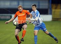 Mandatory Credit - Picture by Freddie Parkinson/Press Eye ©. Saturday 21st November 2015. NIFL Premiership. The Showgrounds, Coleraine.. Coleraine FC vs. Carrick Rangers FC. Carrick\'s Joe Neill and Coleraine\'s Brad Lyons.
