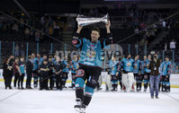 Press Eye - Belfast -  Northern Ireland - 06th April 2019 - Photo by William Cherry/Presseye. Belfast Giants\' Chris Higgins pictured with the Elite Ice Hockey League trophy after being crowned Champions at the SSE Arena, Belfast.       Photo by William Cherry/Presseye