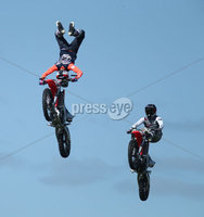 PressEye-Northern Ireland- 16th May 2018-Picture by Brian Little/ PressEye. Stunt Moto cross riders perform  freestyle tricks  during the  First day of the 2018 Balmoral Show, in partnership with Ulster Bank, at Balmoral Park. Picture by Brian Little/PressEye