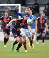 . Danske Bank Premiership Play-Off, Seaview, Belfast 14/4/2018 . Crusaders vs Linfield. Mandatory Credit ©INPHO/Stephen Hamilton. Crusaders Jamie Glackin  with Linfields Andy Mitchell