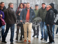 Press Eye - Belfast - Northern Ireland - 10th January 2018. Britain First leader Paul Golding(centre) arrives at Belfast Magistrates Court where he was appearing after being charged with making a hate speech at Belfast City Hall last summer.  See copy by Alan Erwin/Laganside  Media. . Picture by Jonathan Porter/PressEye