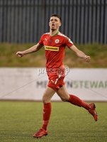 9th May 2018. Europa league play off semi final match between Cliftonville and Ballymena United at Solitude in Belfast.. Cliftonvilles Jay Donnelly celebrates after firing his side into a 1-0 lead. Mandatory Credit ©Inpho/Stephen Hamilton